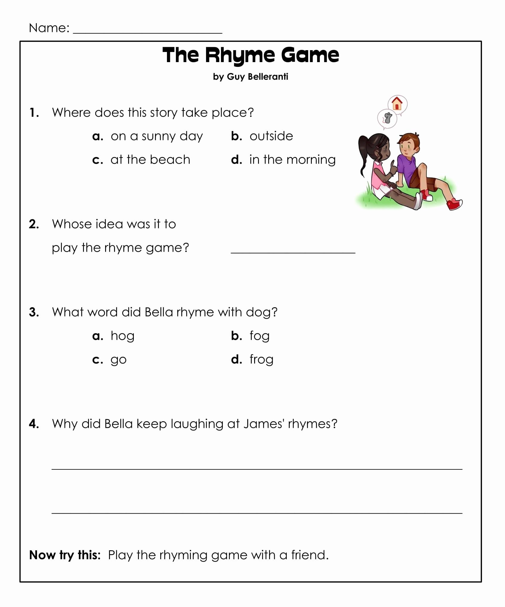 1st Grade Reading Worksheets Pdf Unique 1st Grade Reading Prehension Worksheets Printable Pdf