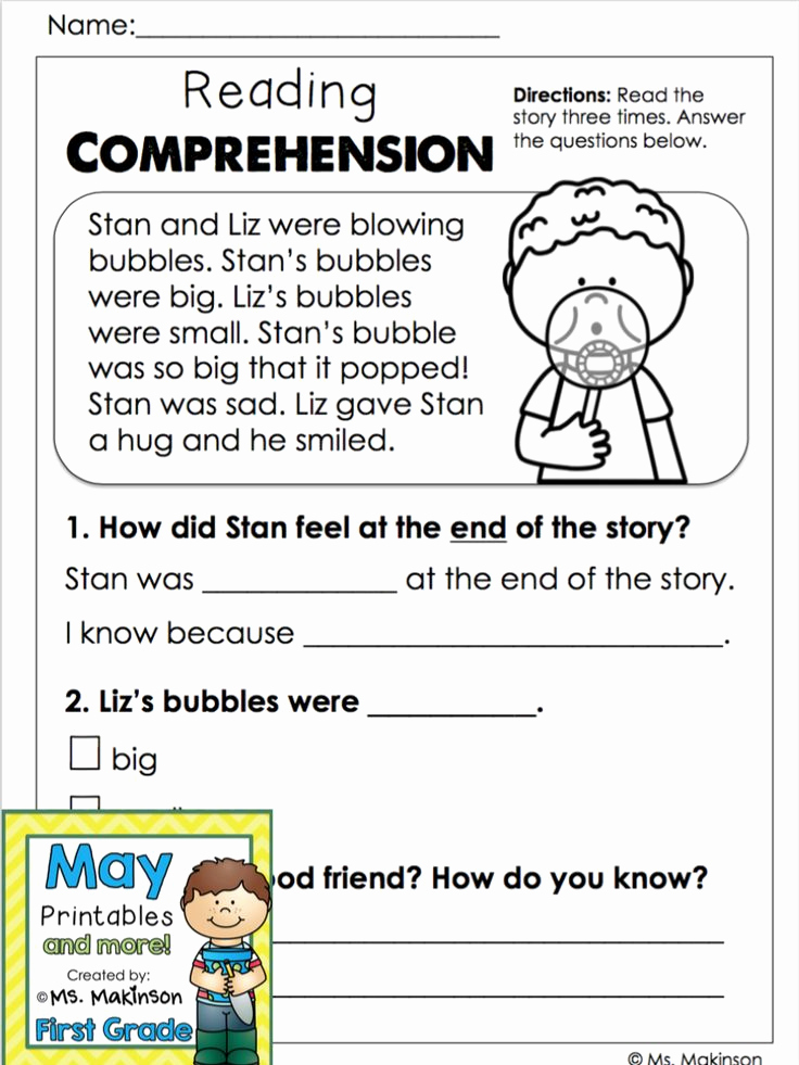 1st Grade Reading Worksheets Printable Best Of May Printables First Grade Literacy and Math with