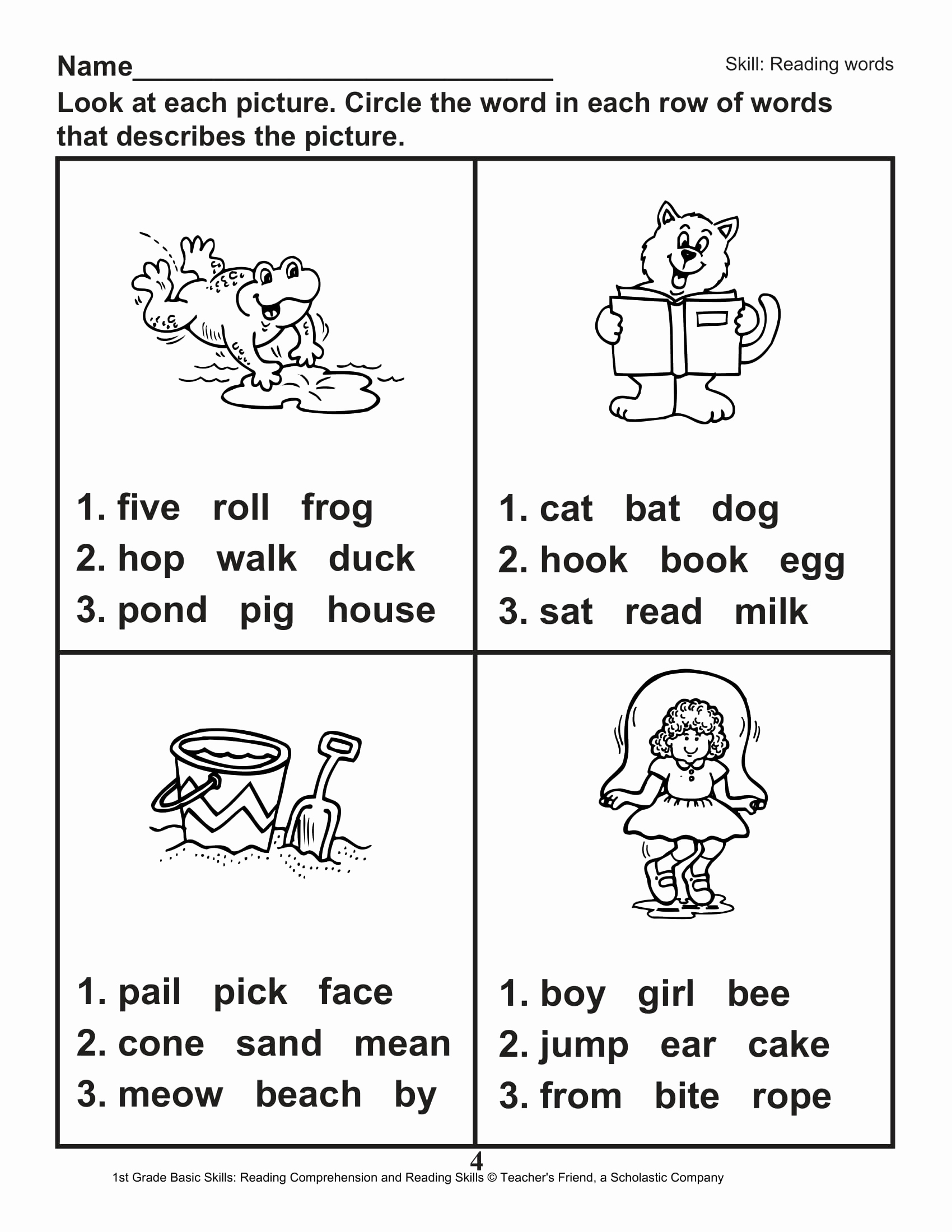 1st Grade Reading Worksheets Printable Inspirational 40 Scholastic 1st Grade Reading Prehension Skills