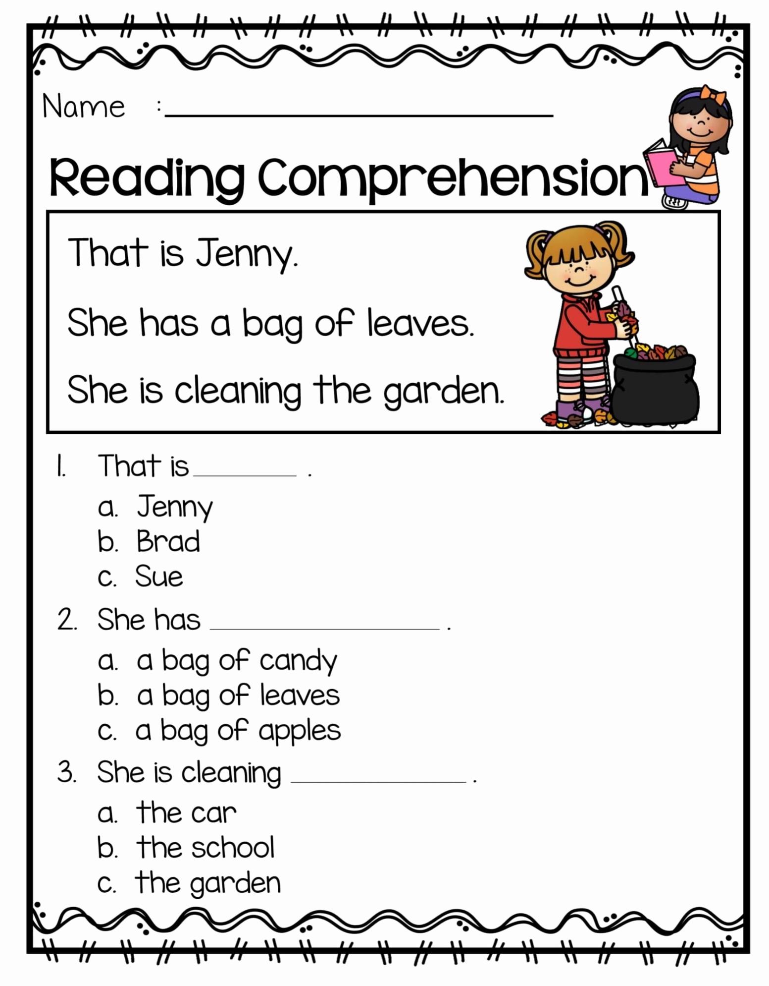 1st Grade Reading Worksheets Printable Lovely 1st Grade Reading Prehension Worksheets Printable Pdf