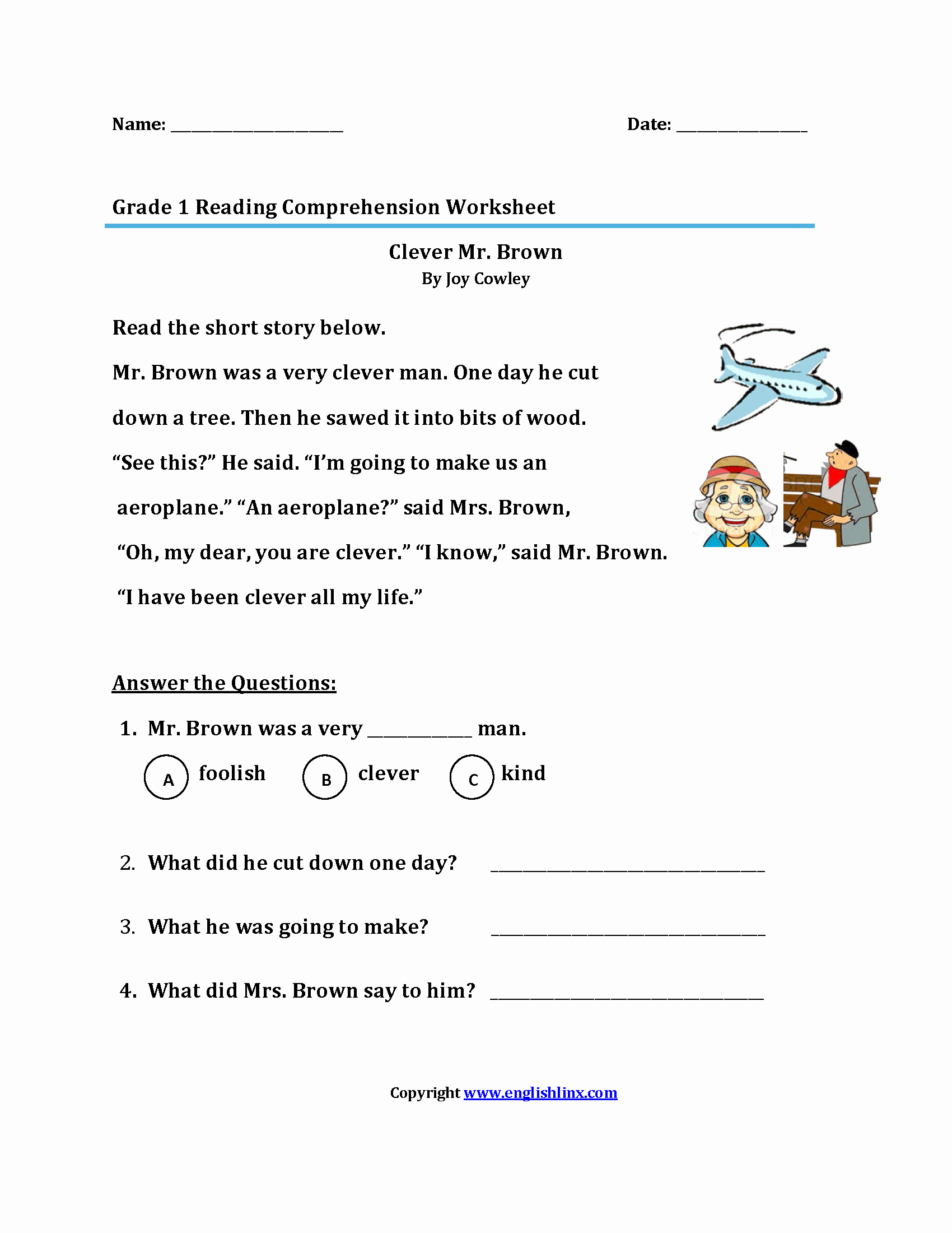 1st Grade Reading Worksheets Printable New Best Free Printable 1st Grade Reading Worksheets