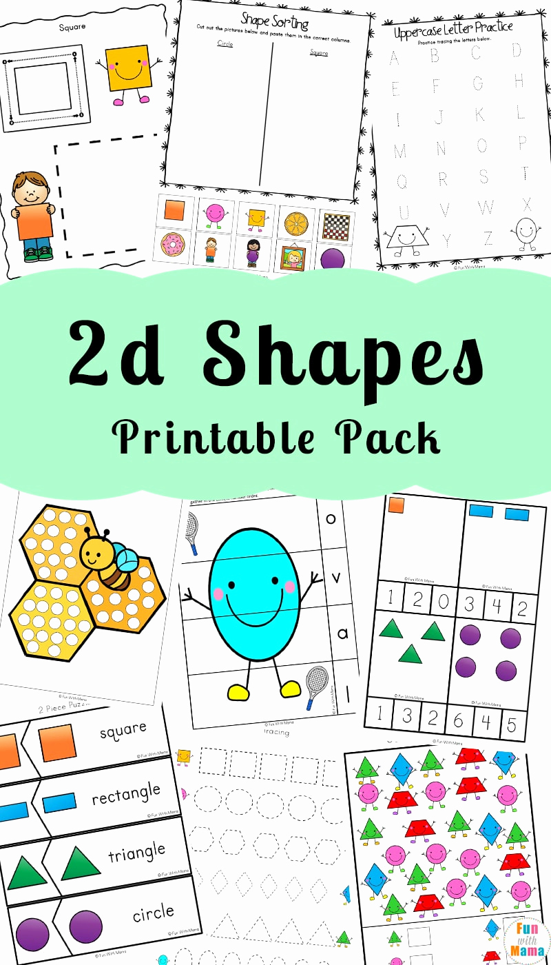 2d Shapes Worksheet Kindergarten Beautiful 2d Shapes Worksheeets Fun with Mama