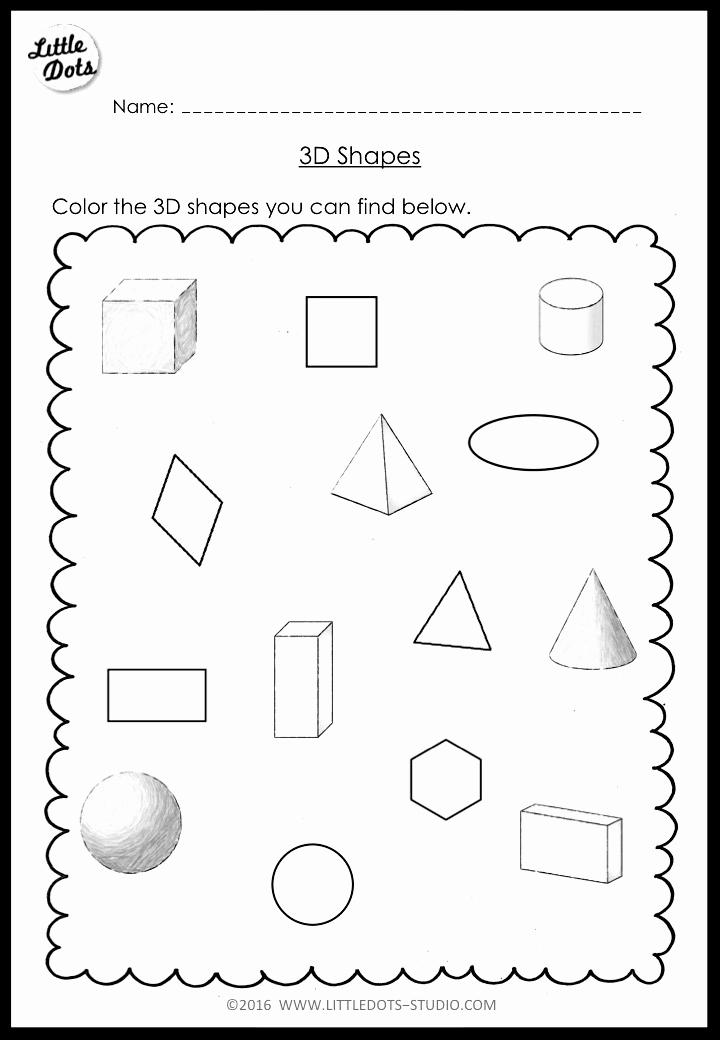 2d Shapes Worksheet Kindergarten Beautiful Kindergarten Math 3d Shapes Worksheets and Activities