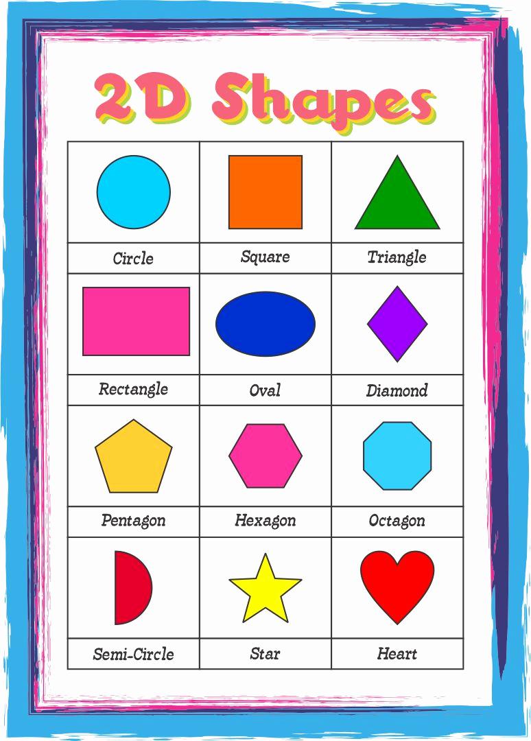 2d Shapes Worksheet Kindergarten Best Of 5 Best Of Printable Shapes Chart Preschool Shapes