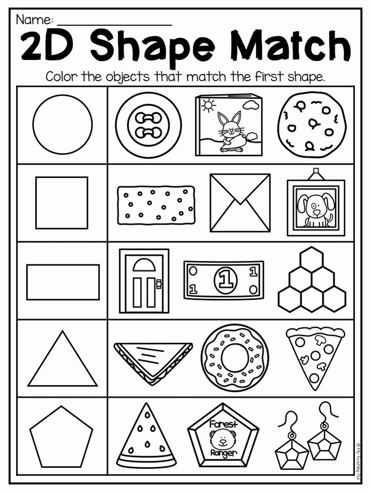 2d Shapes Worksheet Kindergarten Elegant 2d Shape Match Worksheet for Kindergarten This Packet is