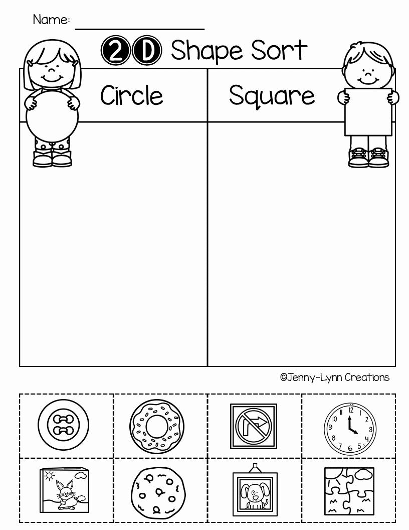 2d Shapes Worksheet Kindergarten Elegant Preschool Geometry 2d Shapes