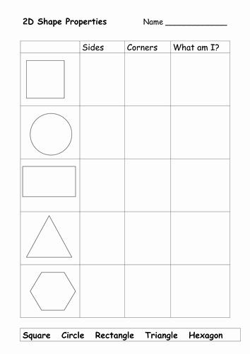 2d Shapes Worksheet Kindergarten Fresh 2d Shapes Properties Worksheet by Christina123 Teaching