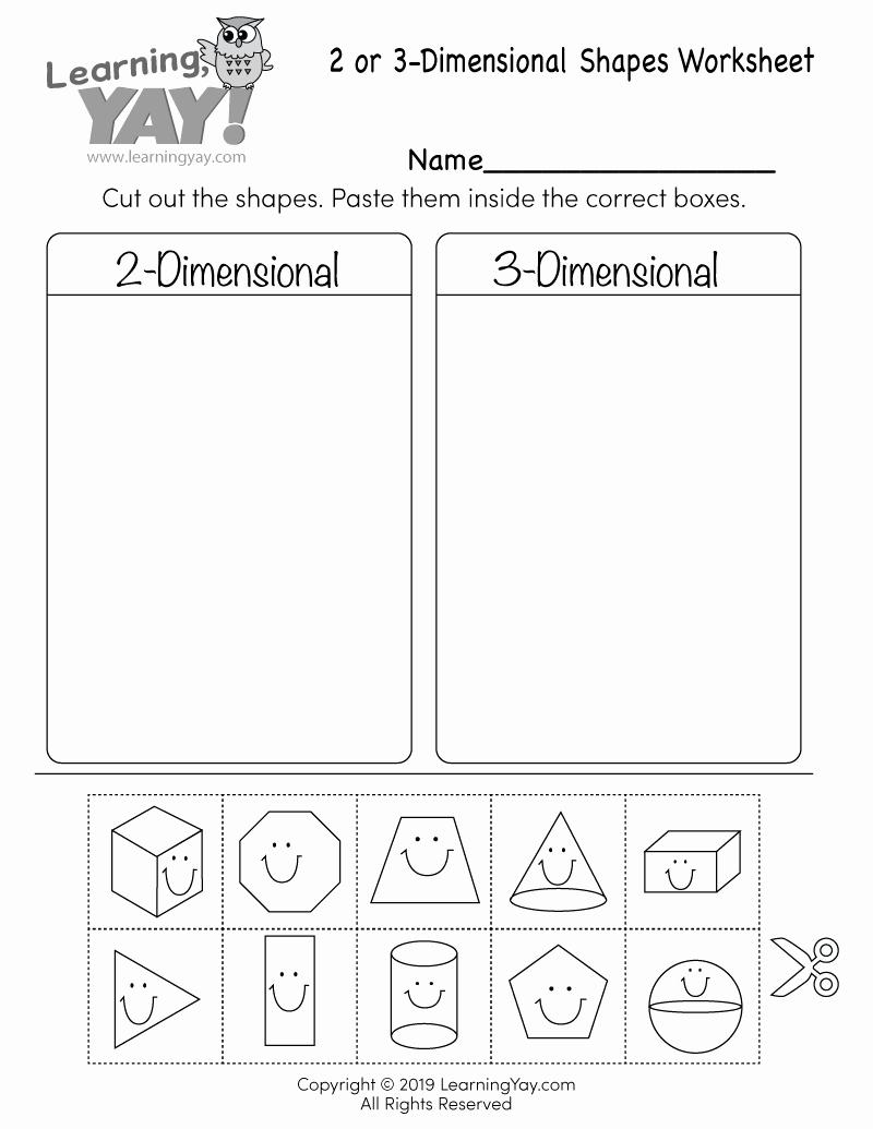 2d Shapes Worksheet Kindergarten Fresh sorting 2d and 3d Shapes Worksheet for 1st Grade Free