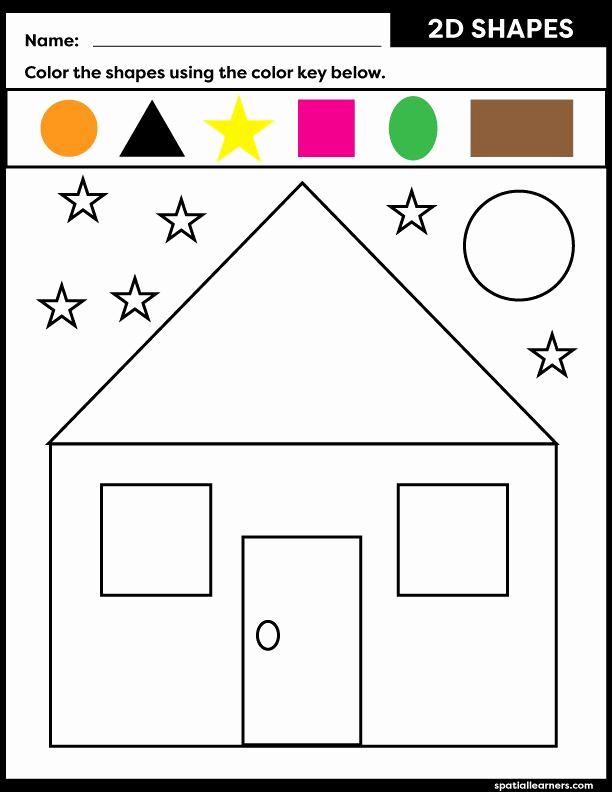 2d Shapes Worksheets Kindergarten Best Of Free Printable for Kids 2d Shapes Worksheets