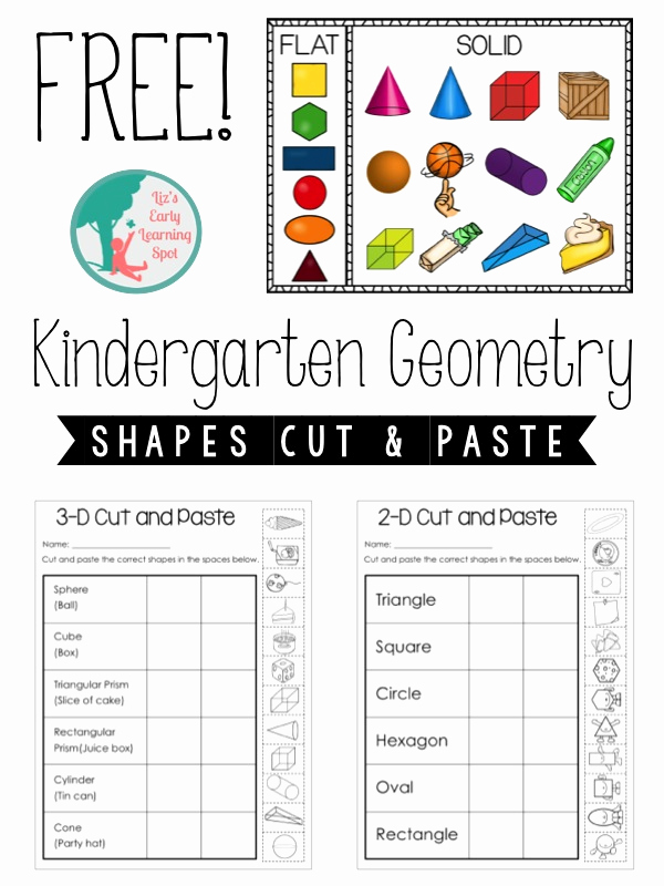 2d Shapes Worksheets Kindergarten Fresh Kindergarten Geometry 2d and 3d Shapes Liz S Early