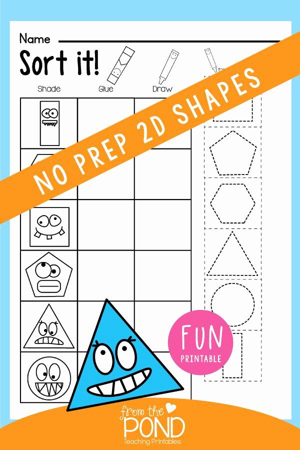 2d Shapes Worksheets Kindergarten Fresh Shapes Worksheet Packet Busy Work for 2d Shapes