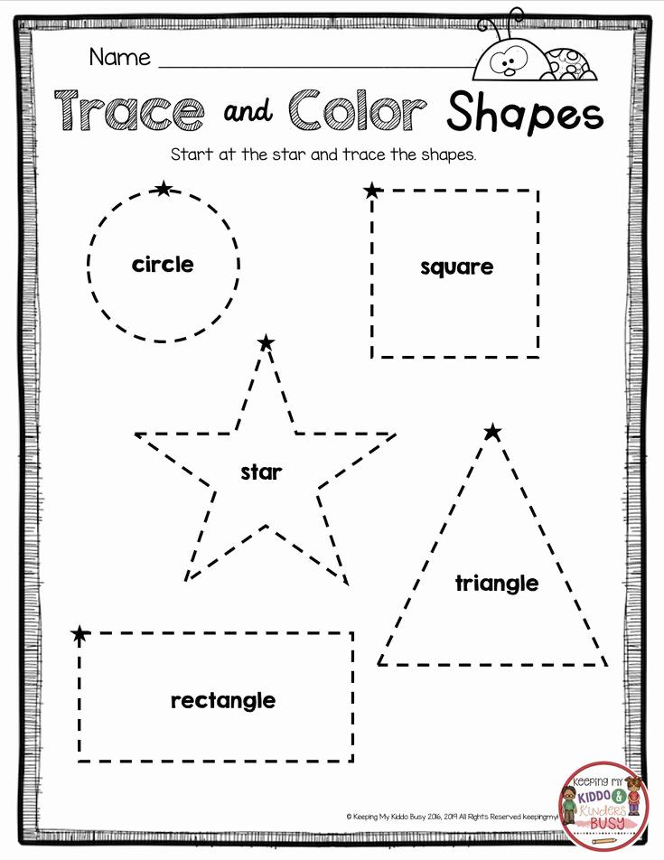 2d Shapes Worksheets Kindergarten Fresh Tracing Shapes Learning 2d Shape Names Kindergarten