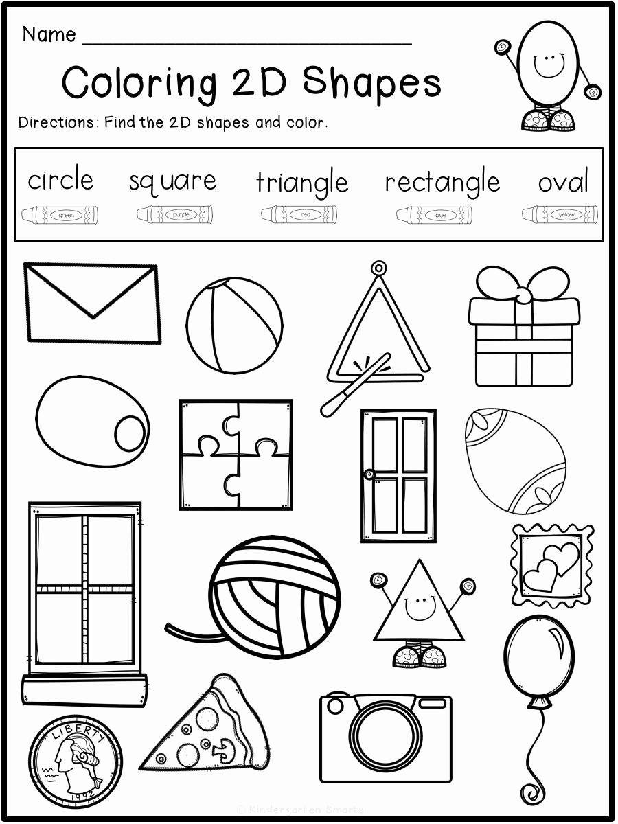 2d Shapes Worksheets Kindergarten Lovely 2d Shapes Colouring Worksheet