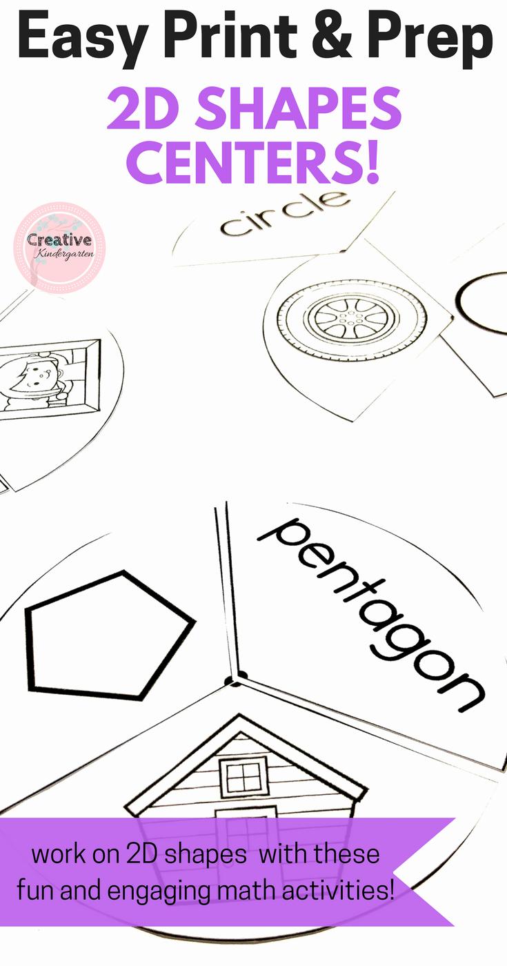 2d Shapes Worksheets Kindergarten New Easy Print and Prep Kindergarten Math Centers 2d Shapes