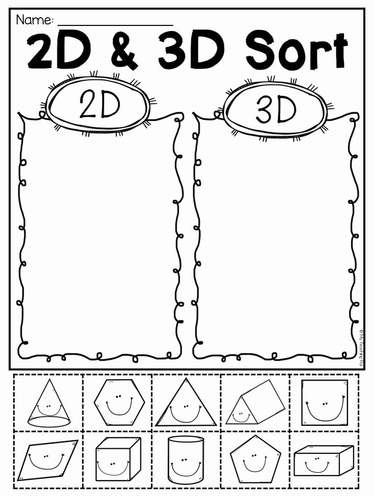 2d Shapes Worksheets Kindergarten Unique First Grade 2d and 3d Shapes Worksheets Distance