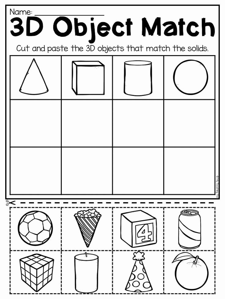 2d Shapes Worksheets Kindergarten Unique Kindergarten 2d and 3d Shapes Worksheets