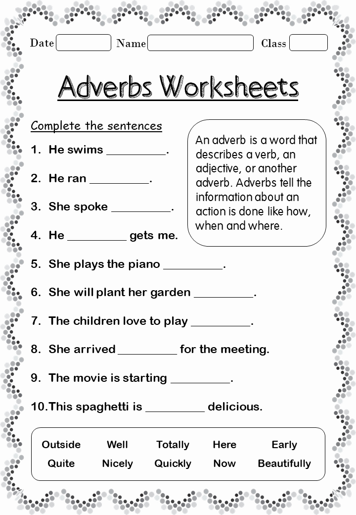2nd Grade Grammar Worksheets Free Inspirational Printable Adverb Worksheets for 2nd Grade Your Home Teacher