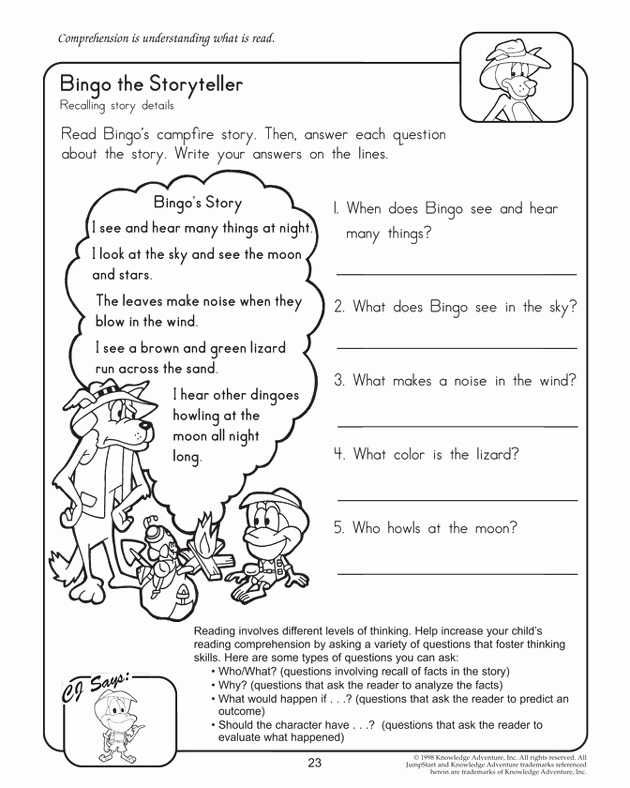 2nd Grade Grammar Worksheets Pdf Inspirational Bingo the Storyteller – Worksheets for 2nd Grade – Jumpstart