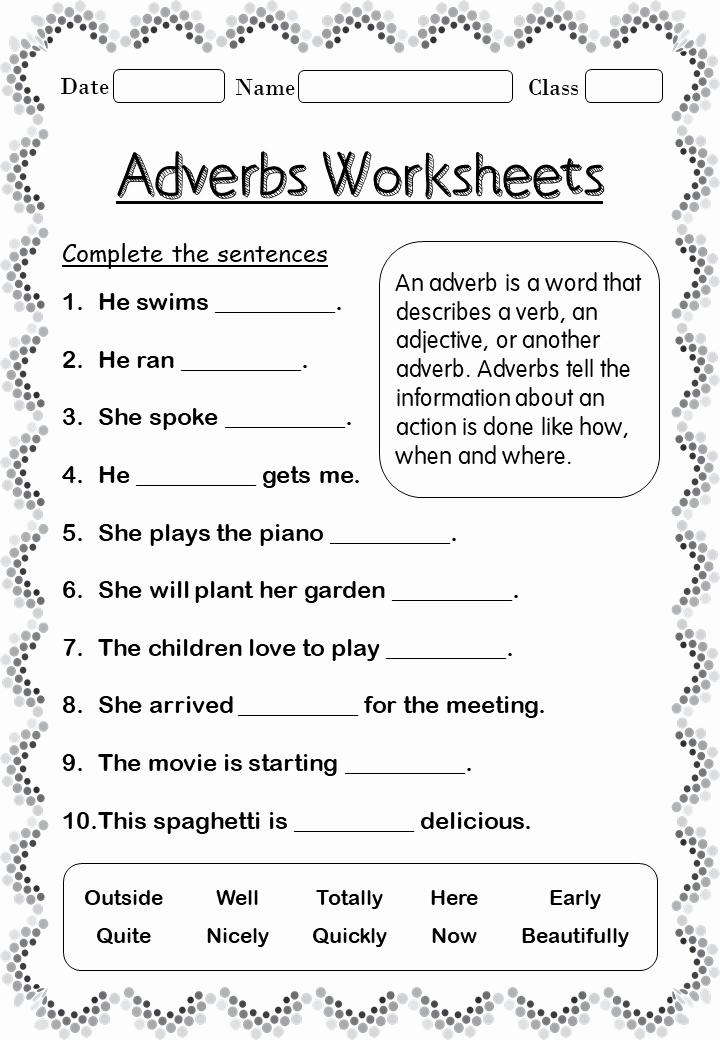 2nd Grade Grammar Worksheets Pdf Inspirational Printable Adverb Worksheets for 2nd Grade Your Home Teacher