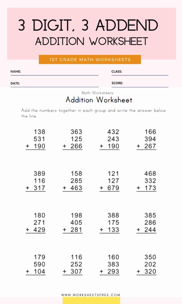 3 Addends Worksheets Awesome 3 Digit 3 Addend Addition Worksheet Grade 1