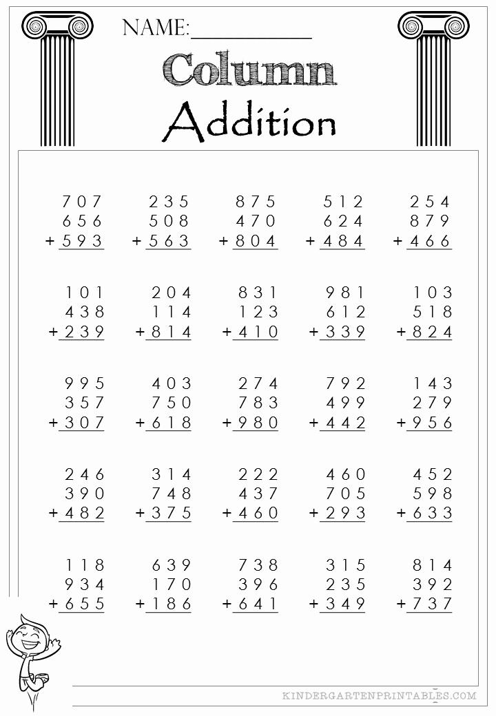 3 Addends Worksheets Lovely Three Digit Column Addition 3 Addends Worksheet