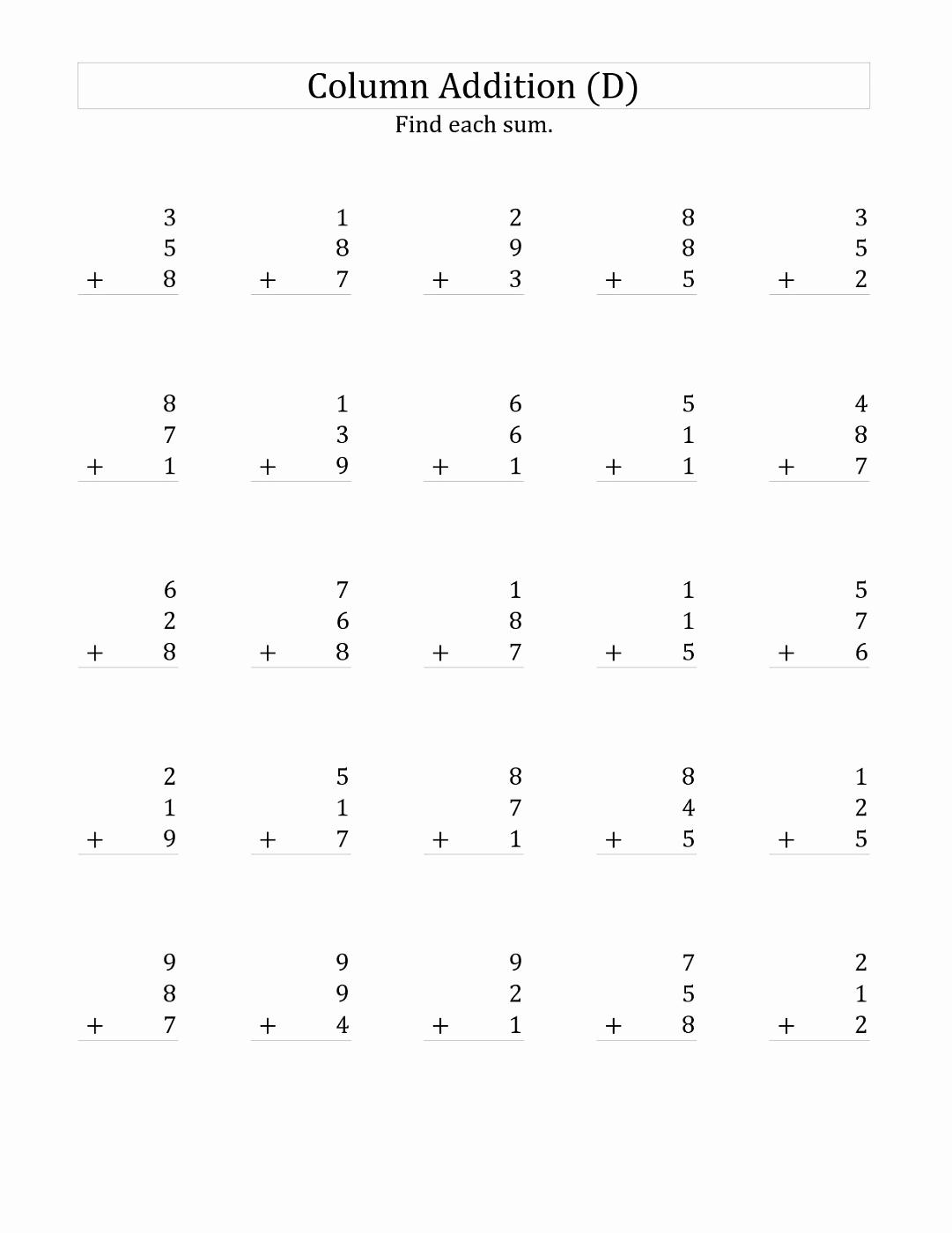 3 Addends Worksheets Unique 3 Addends Worksheets Printable