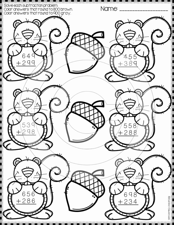 3 Digit Addition Coloring Worksheets Beautiful Fall 3 Digit Addition with Regrouping Color by Code