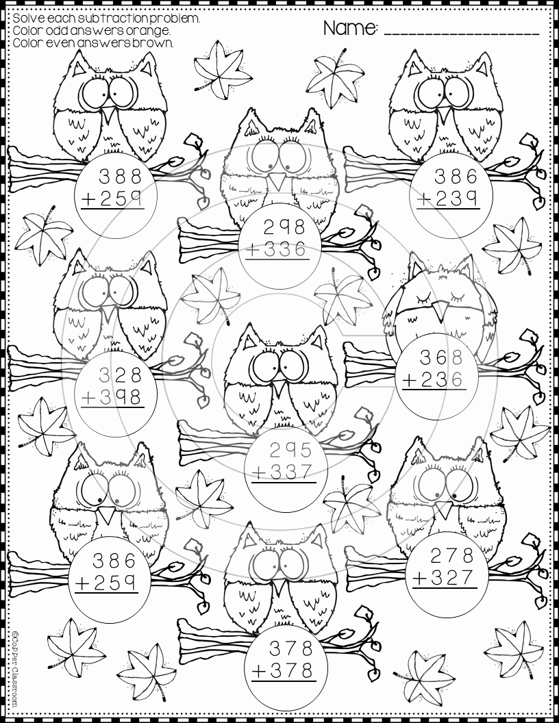 3 Digit Addition Coloring Worksheets Best Of Fall 3 Digit Addition with Regrouping Color by Code