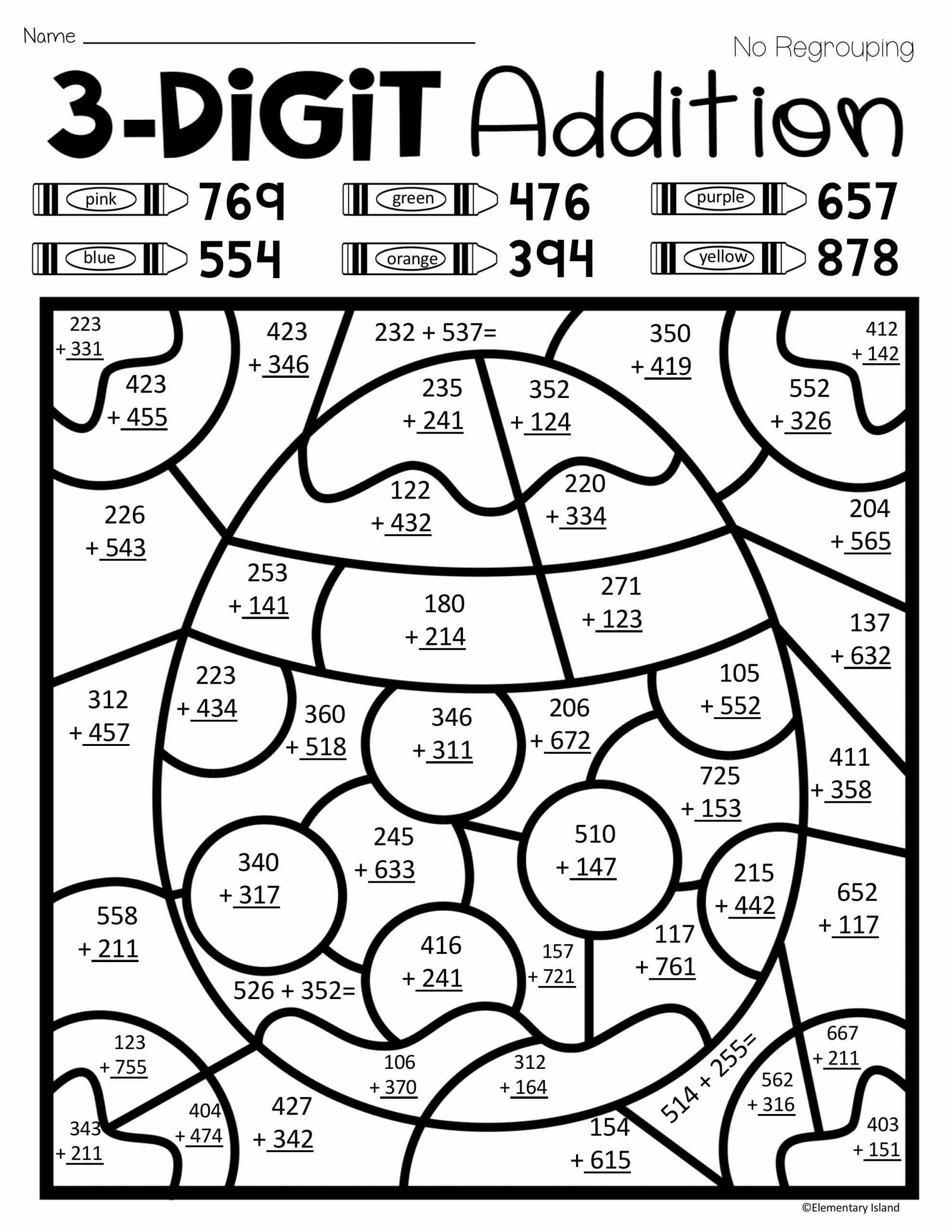 3 Digit Addition Coloring Worksheets Elegant Easter Spring Three Digit Addition Color by Number with