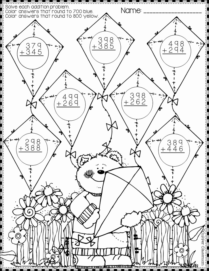 3 Digit Addition Coloring Worksheets Fresh Spring 3 Digit Addition with Regrouping Color by Code