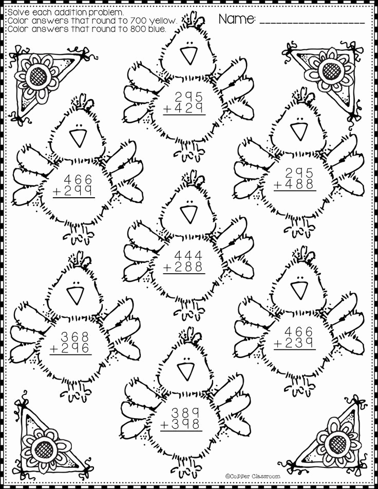 3 Digit Addition Coloring Worksheets Luxury Spring 3 Digit Addition with Regrouping Color by Code