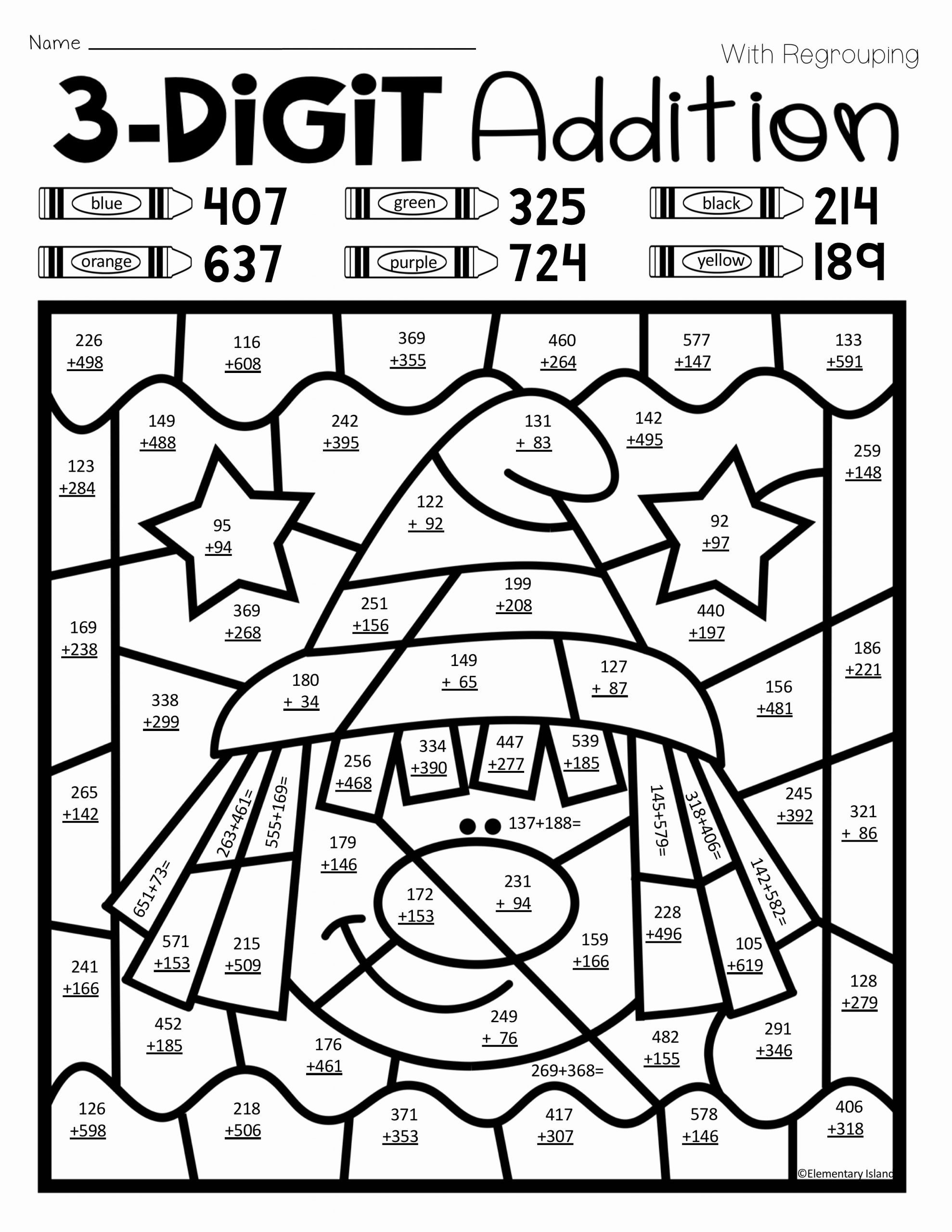 3 Digit Addition Coloring Worksheets Unique Halloween Three Digit Addition Color by Number with and