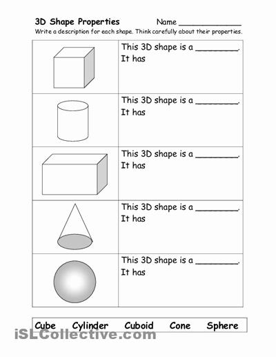 3 Dimensional Shapes Worksheet Fresh 10 Best Of 3 Dimensional Shapes Kindergarten
