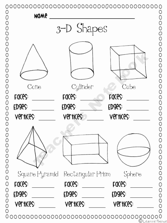 3 Dimensional Shapes Worksheet New 14 Best Of Three D Shapes Worksheets 3