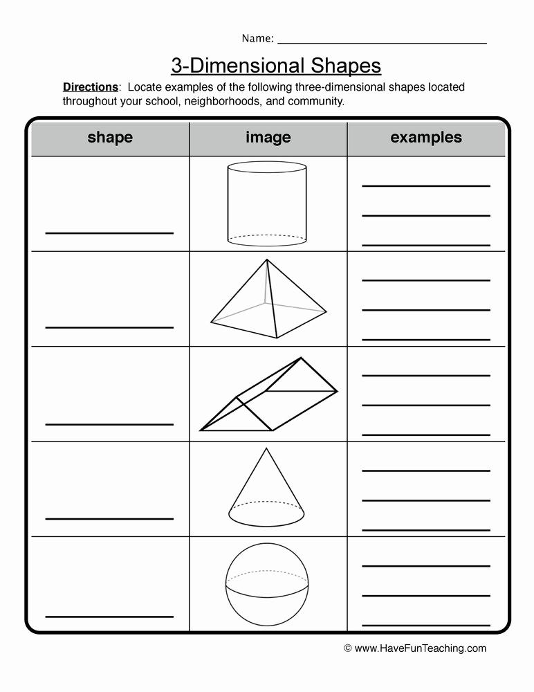 3 Dimensional Shapes Worksheet Unique 3 Dimensional Shapes Worksheet
