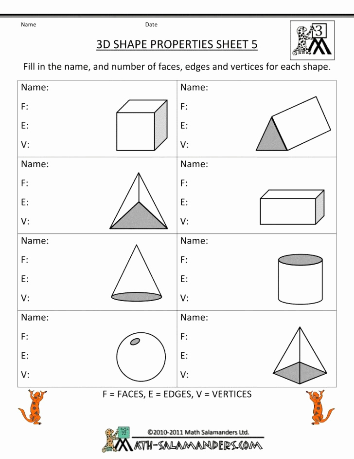 3d Shapes Worksheets 2nd Grade Inspirational 20 3d Shapes Worksheets 2nd Grade Dzofar Printable