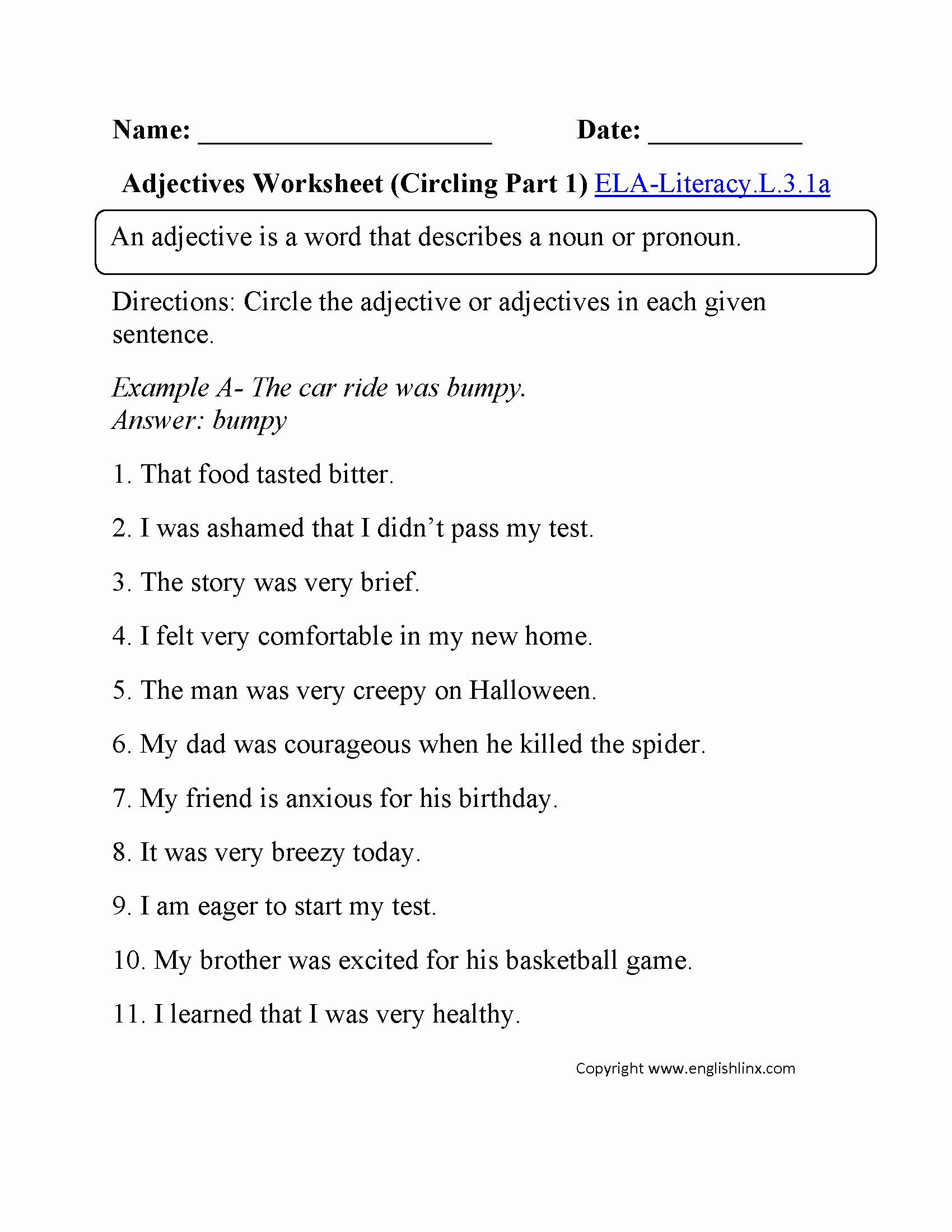 3rd Grade Adjectives Worksheets Fresh 3rd Grade Mon Core