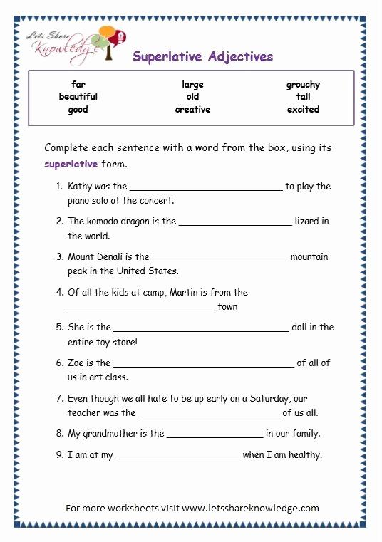 3rd Grade Adjectives Worksheets Unique Grade 3 Grammar topic 15 Superlative Adjectives Worksheets