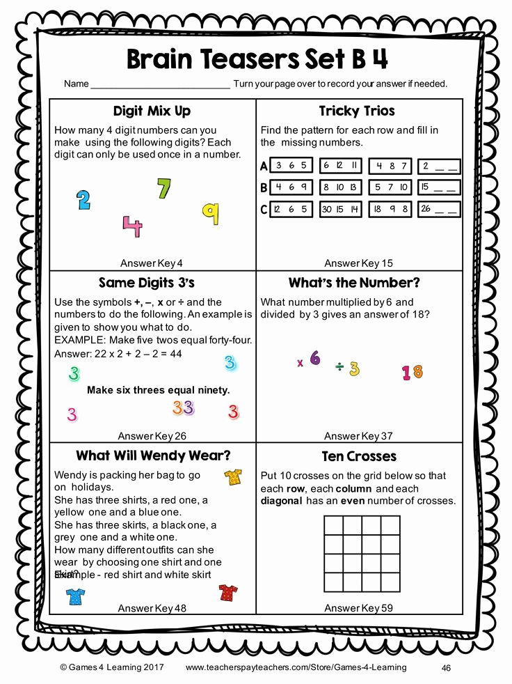 3rd Grade Brain Teasers Worksheets Best Of Pin On Second Grade Sunshine