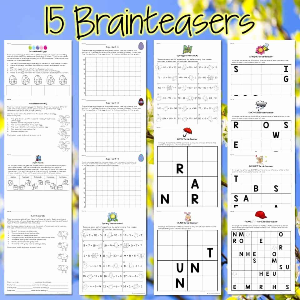 3rd Grade Brain Teasers Worksheets Fresh Easter Math Challenges & Brainteasers 2nd & 3rd Grade Math