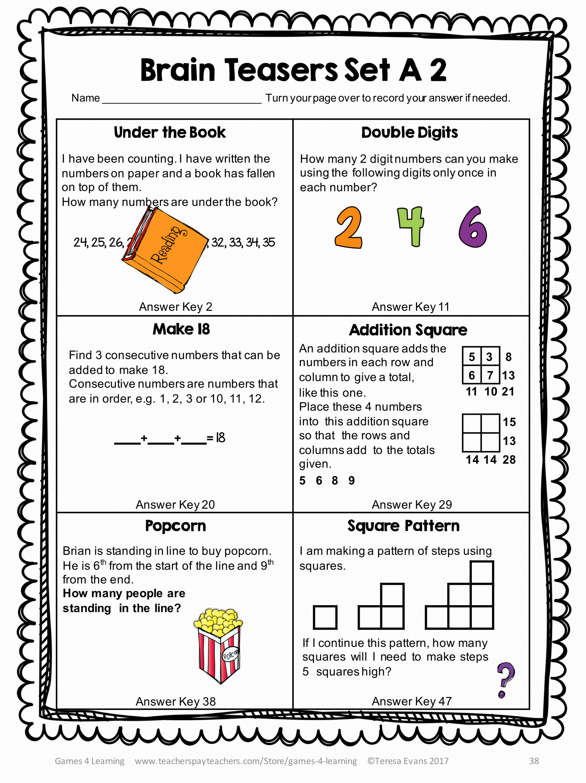3rd Grade Brain Teasers Worksheets Luxury Printable Math Problems and Math Brain Teasers Cards From