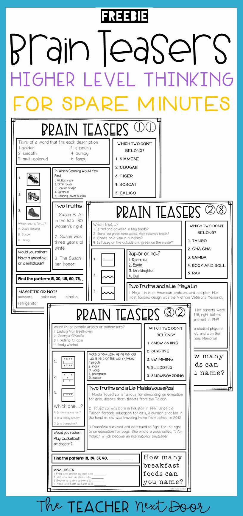 3rd Grade Brain Teasers Worksheets Luxury This Free 3 Page Sample Of Brain Teasers for Transitions