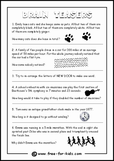 3rd Grade Brain Teasers Worksheets Unique 20 3rd Grade Brain Teasers Worksheets Dzofar Printable