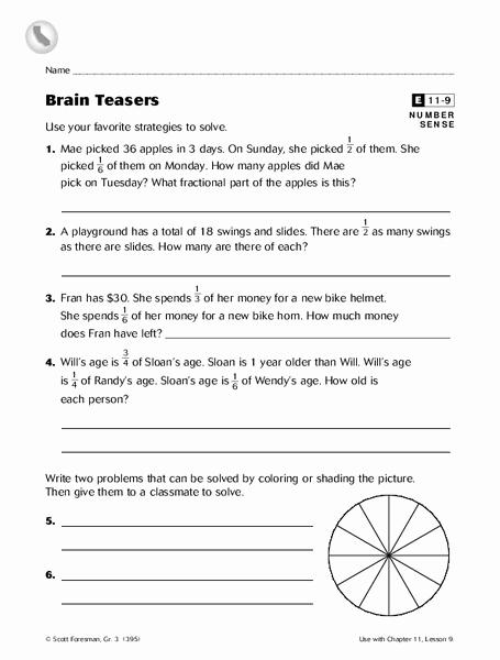 3rd Grade Brain Teasers Worksheets Unique Brain Teasers Worksheet for 3rd 5th Grade