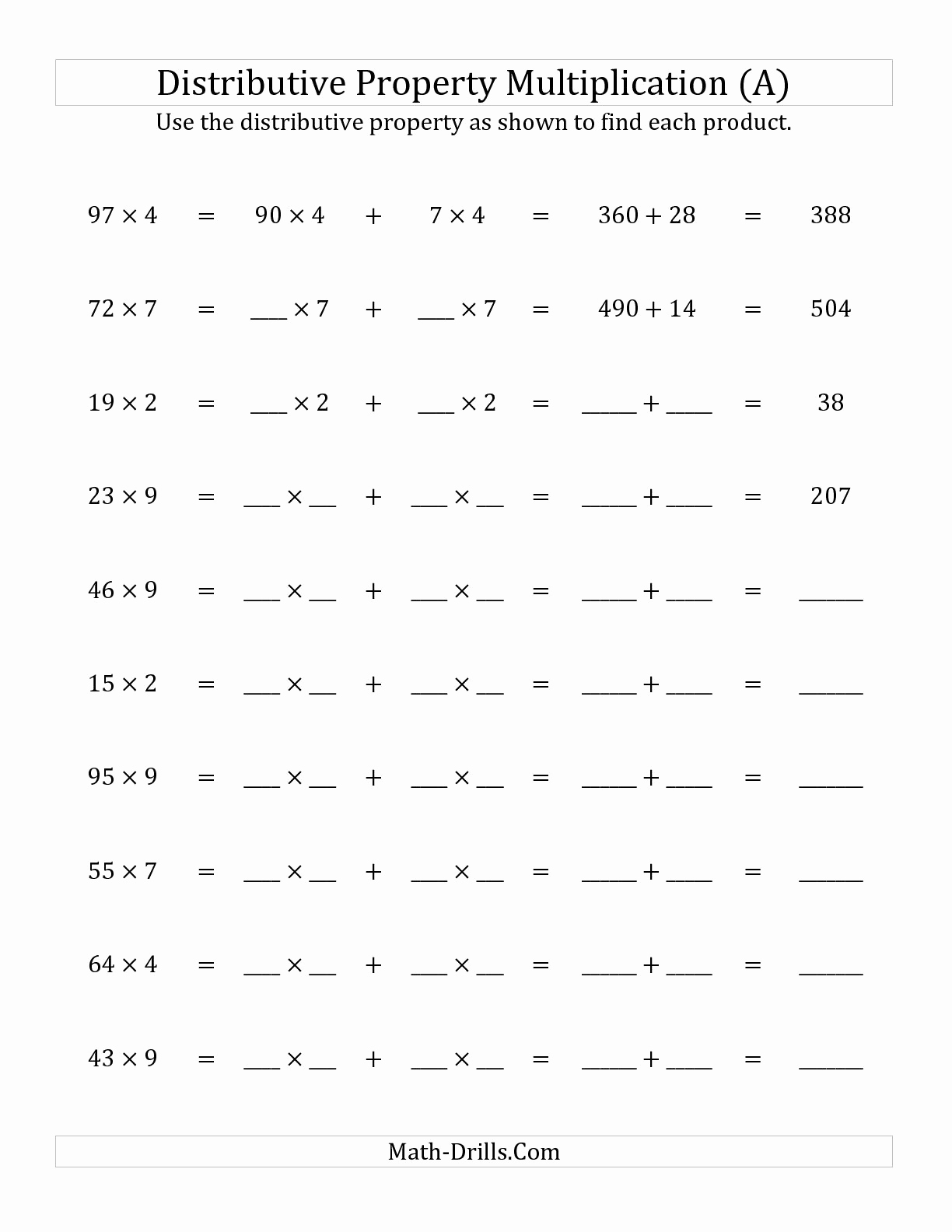 3rd Grade Distributive Property Worksheets Awesome 16 Best Of 3rd Grade Multiplication Properties