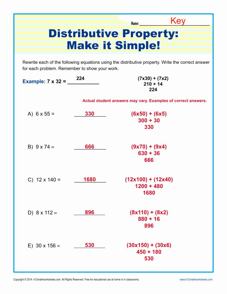 3rd Grade Distributive Property Worksheets Unique Distributive Property Make It Simple