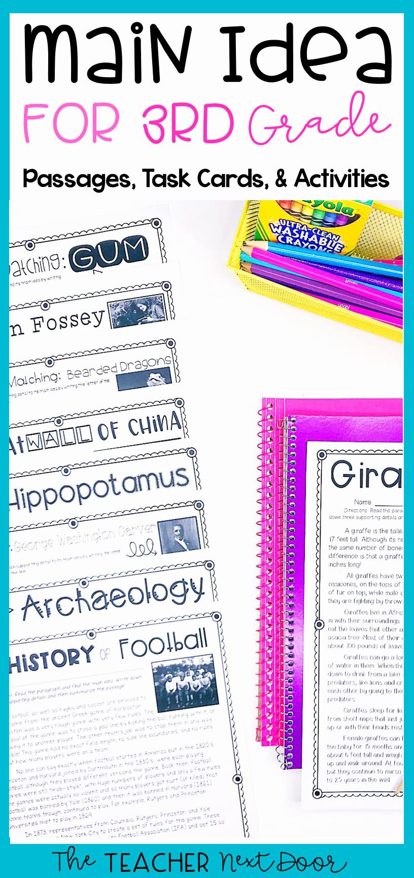 3rd Grade Main Idea Worksheets Beautiful Main Idea for 3rd Grade