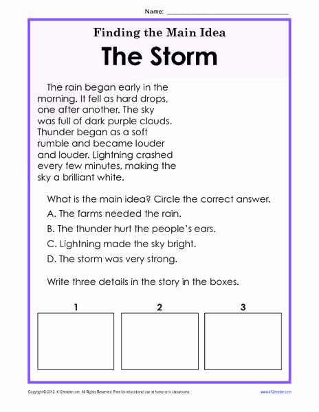 3rd Grade Main Idea Worksheets Fresh Finding the Main Idea Worksheets 3rd Grade