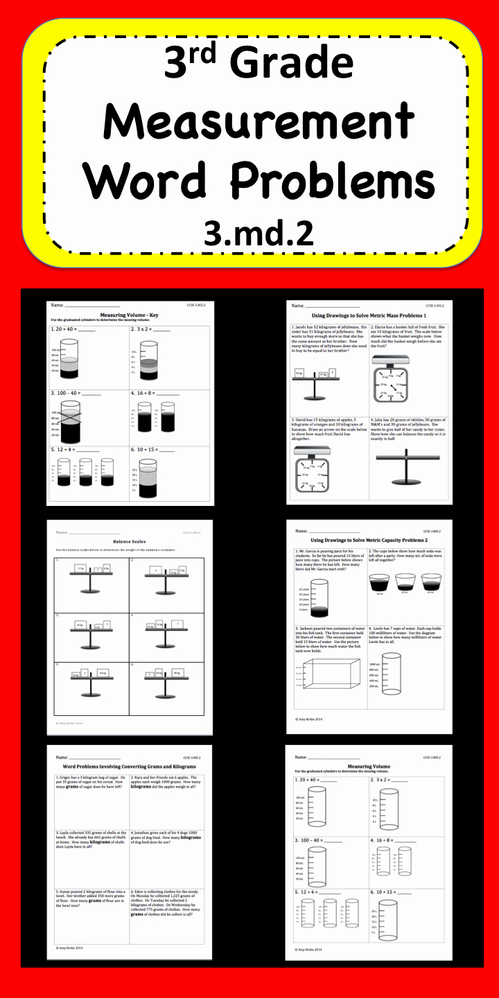 3rd Grade Measurement Worksheets Elegant Measurement Word Problems for 3rd Grade Focusing On 3