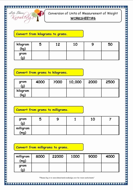 3rd Grade Measurement Worksheets New Grade 3 Maths Worksheets 11 2 Conversion Of Units Of